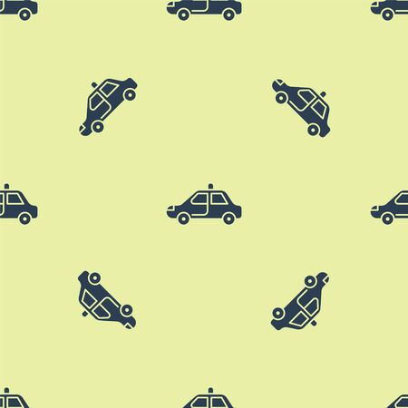 Blue Police car and police flasher icon isolated seamless pattern on yellow background. Emergency flashing siren. Vector Illustration.