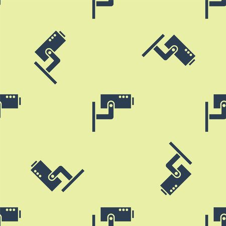 Blue Security camera icon isolated seamless pattern on yellow background. Vector Illustration.