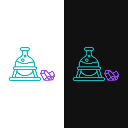 Line Witch cauldron and magic stone icon isolated on white and black background. Colorful outline concept. Vector.