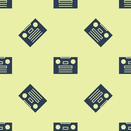 Blue Retro audio cassette tape icon isolated seamless pattern on yellow background. Vector Illustration.