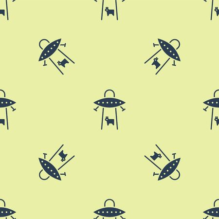 Blue UFO abducts cow icon isolated seamless pattern on yellow background. Flying saucer. Alien space ship. Futuristic unknown flying object. Vector Illustration. Ilustração