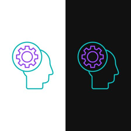 Line Human head with gear inside icon isolated on white and black background. Artificial intelligence. Thinking brain sign. Symbol work of brain. Colorful outline concept. Vector.