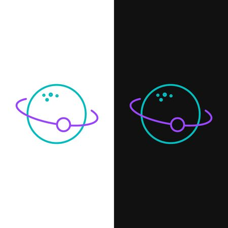 Line Planet icon isolated on white and black background. Colorful outline concept. Vector. Иллюстрация
