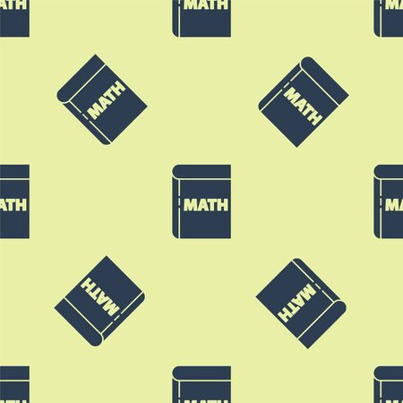 Blue Book with word mathematics icon isolated seamless pattern on yellow background. Math book. Education concept about back to school. Vector Illustration.