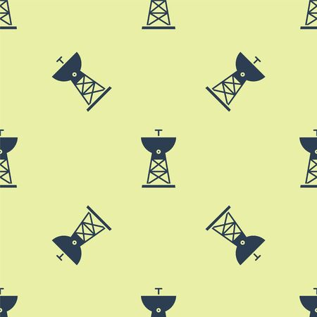 Blue Satellite dish icon isolated seamless pattern on yellow background. Radio antenna, astronomy and space research. Vector Illustration.