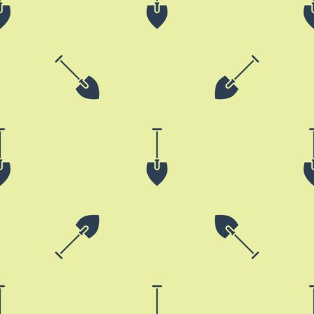 Blue Shovel icon isolated seamless pattern on yellow background. Gardening tool. Tool for horticulture, agriculture, farming. Vector Illustration.