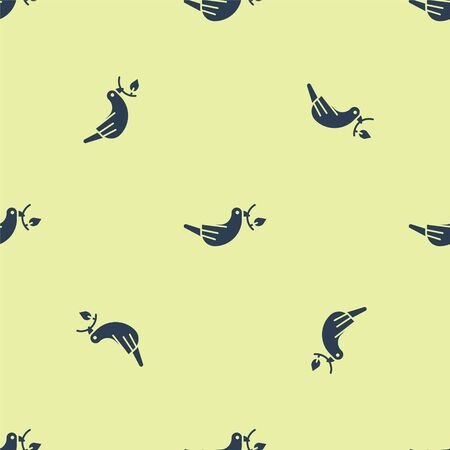 Blue Peace dove with olive branch icon isolated seamless pattern on yellow background. Happy Easter. Vector Illustration.  イラスト・ベクター素材