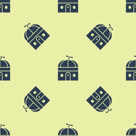 Blue Astronomical observatory icon isolated seamless pattern on yellow background. Observatory with a telescope. Scientific institution. Vector Illustration.