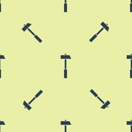 Blue Hammer icon isolated seamless pattern on yellow background. Tool for repair. Vector Illustration. Stock Illustratie
