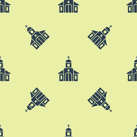 Blue Church building icon isolated seamless pattern on yellow background. Christian Church. Religion of church. Vector Illustration. Illustration