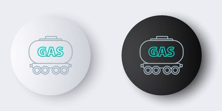 Line Gas railway cistern icon isolated on grey background. Train gasoline tank on railway car. Rail freight. Colorful outline concept. Vector. Ilustracja