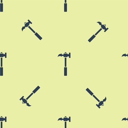 Blue Claw hammer icon isolated seamless pattern on yellow background. Carpenter hammer. Tool for repair. Vector Illustration.