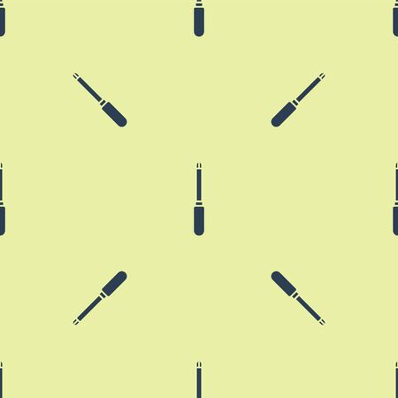 Blue Screwdriver icon isolated seamless pattern on yellow background. Service tool symbol. Vector Illustration.