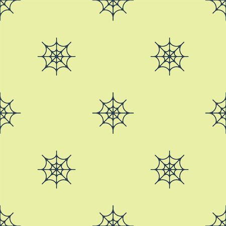 Blue Spider web icon isolated seamless pattern on yellow background. Cobweb sign. Happy Halloween party. Vector Illustration.