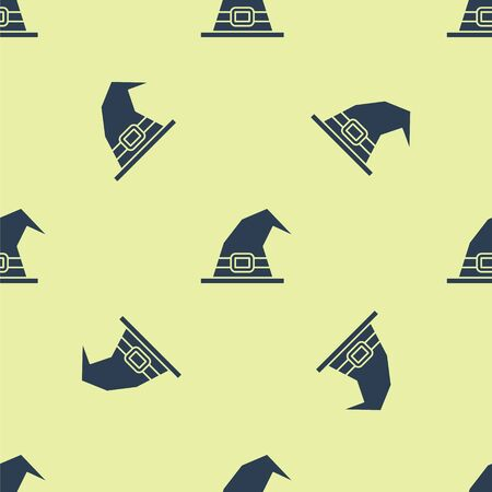 Blue Witch hat icon isolated seamless pattern on yellow background. Happy Halloween party. Vector Illustration.