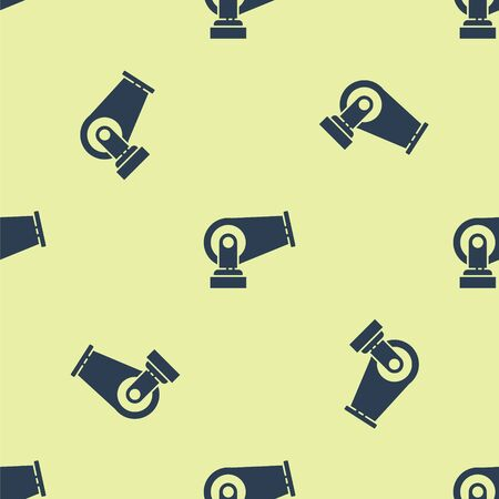 Blue Cannon icon isolated seamless pattern on yellow background. Vector Illustration.
