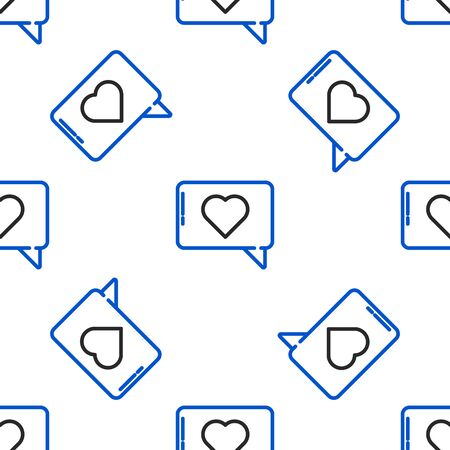 Line Like and heart icon isolated seamless pattern on white background. Counter Notification Icon. Follower Insta. Colorful outline concept. Vector.