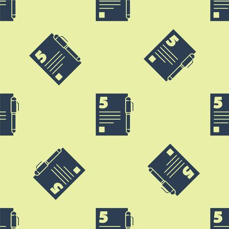 Blue Test or exam sheet and pen icon isolated seamless pattern on yellow background. Test paper, exam or survey concept. Vector Illustration. Stock Illustratie