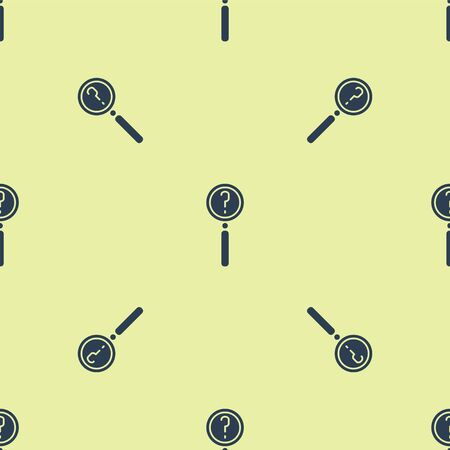 Blue Magnifying glass with search icon isolated seamless pattern on yellow background. Detective is investigating. Vector Illustration.