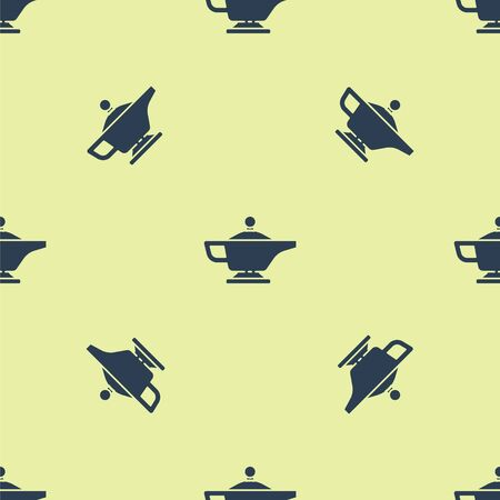 Blue Magic lamp or Aladdin lamp icon isolated seamless pattern on yellow background. Spiritual lamp for wish. Vector Illustration.