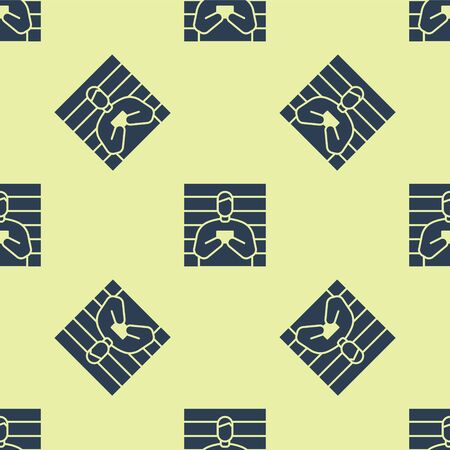 Blue Suspect criminal icon isolated seamless pattern on yellow background. The criminal in prison, suspected near the board. Vector Illustration.