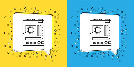 Set line Electronic computer components motherboard digital chip integrated science icon isolated on yellow and blue background. Circuit board.  Vector Illustration.