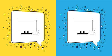 Set line Smart Tv icon isolated on yellow and blue background. Television sign.  Vector Illustration.