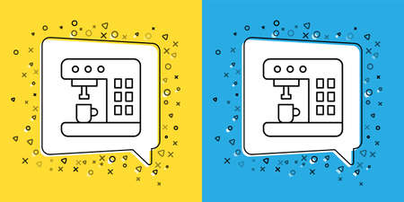 Set line Coffee machine icon isolated on yellow and blue background.  Vector Illustration.