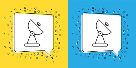 Set line Radar icon isolated on yellow and blue background. Search system. Satellite sign.  Vector Illustration.
