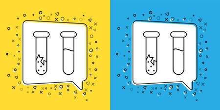 Set line Test tube and flask - chemical laboratory test icon isolated on yellow and blue background. Laboratory glassware sign.  Vector Illustration. 向量圖像