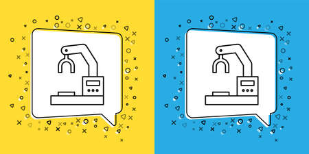 Set line Industrial machine robotic robot arm hand factory icon isolated on yellow and blue background. Industrial robot manipulator.  Vector Illustration.