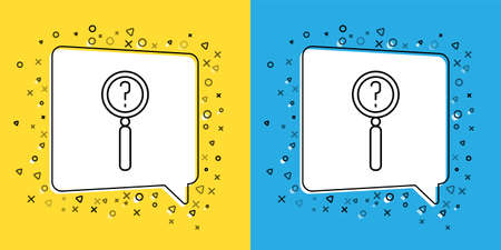 Set line Magnifying glass with search icon isolated on yellow and blue background. Detective is investigating.  Vector Illustration.