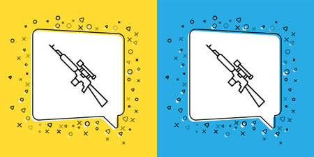 Set line Sniper rifle with scope icon isolated on yellow and blue background.  Vector Illustration. Illustration