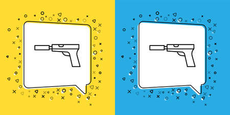 Set line Pistol or gun with silencer icon isolated on yellow and blue background.  Vector Illustration.