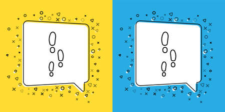 Set line Footsteps icon isolated on yellow and blue background. Detective is investigating. To follow in the footsteps.  Vector Illustration.