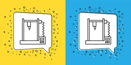 Set line 3D printer icon isolated on yellow and blue background.  Vector Illustration. Vectores