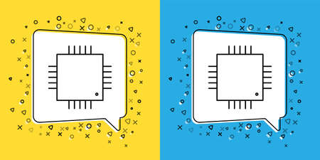 Set line Computer processor with microcircuits CPU icon isolated on yellow and blue background. Chip or cpu with circuit board sign. Micro processor.  Vector Illustration.