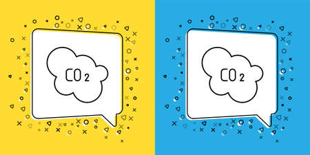 Set line CO2 emissions in cloud icon isolated on yellow and blue background. Carbon dioxide formula, smog pollution concept, environment concept.  Vector Illustration.