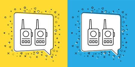 Set line Walkie talkie icon isolated on yellow and blue background. Portable radio transmitter icon. Radio transceiver sign. Vector Illustration. 向量圖像