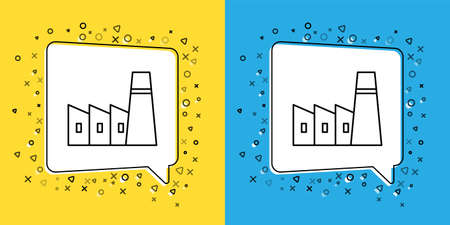 Set line Oil and gas industrial factory building icon isolated on yellow and blue background.  Vector Illustration.