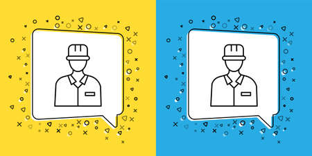 Set line Oilman icon isolated on yellow and blue background.  Vector Illustration.