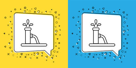 Set line Oil pump or pump jack icon isolated on yellow and blue background. Oil rig.  Vector Illustration.