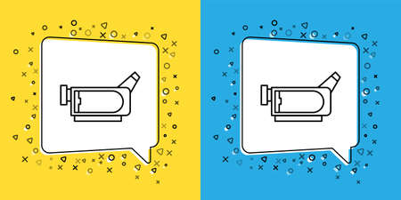 Set line Cinema camera icon isolated on yellow and blue background. Video camera. Movie sign. Film projector. Vector Illustration.