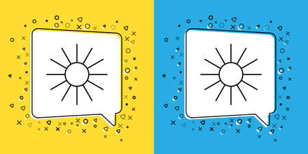 Set line Sun icon isolated on yellow and blue background. Summer symbol. Good sunny day. Vector Illustration
