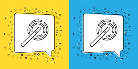 Set line Magic wand icon isolated on yellow and blue background. Star shape magic accessory. Magical power. Vector Illustration Çizim