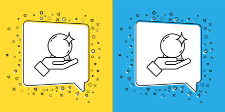Set line Magic ball on hand icon isolated on yellow and blue background. Crystal ball. Vector Illustration Çizim