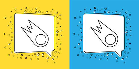 Set line Comet falling down fast icon isolated on yellow and blue background. Vector Illustration.
