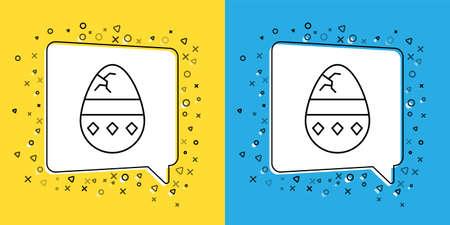 Set line Cracked egg icon isolated on yellow and blue background. Happy Easter. Vector Illustration. Illusztráció