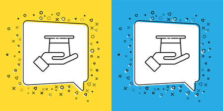 Set line Magician hat in hand icon isolated on yellow and blue background. Magic trick. Mystery entertainment concept. Vector Illustration Çizim