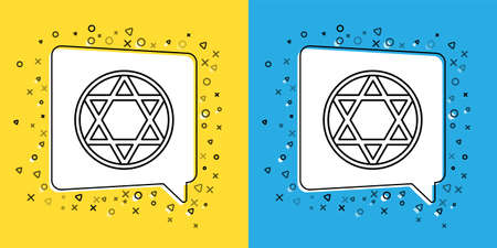 Set line Star of David icon isolated on yellow and blue background. Jewish religion symbol. Symbol of Israel. Vector Illustration.